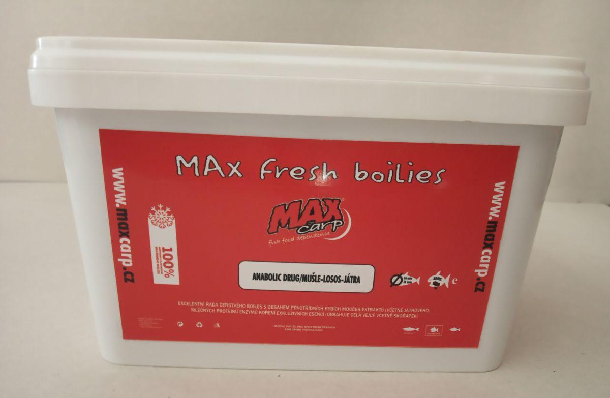 Maxcarp ANABOLIC DRUG-Mušle,Losos,Játra Boilies 800g 16+21mm