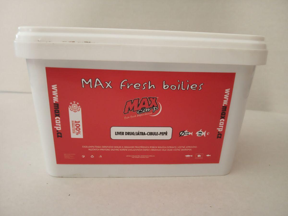 Maxcarp LIVER DRUG-Játra,Cibule,Pepř Boilies 800g 16+21mm