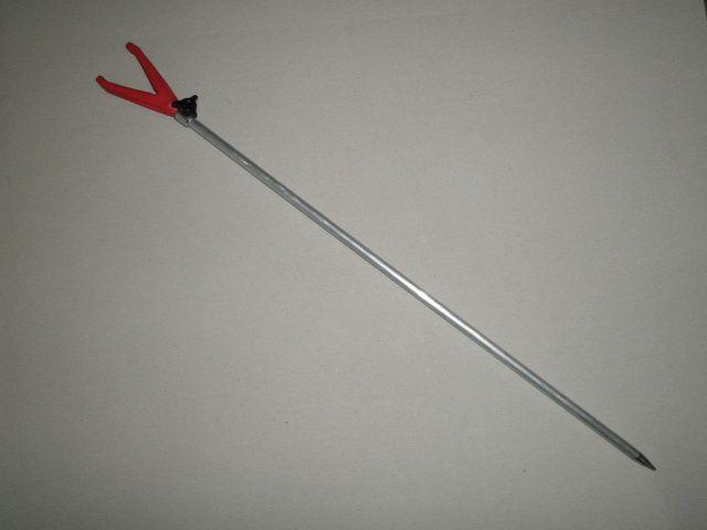 Rybářská vidlička s gumovým koncem přední červená