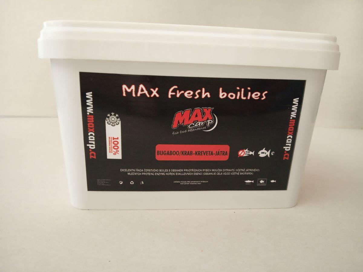 Maxcarp Boilies BUGABOO-Kreveta,Játra Boilies 800g 16+21mm