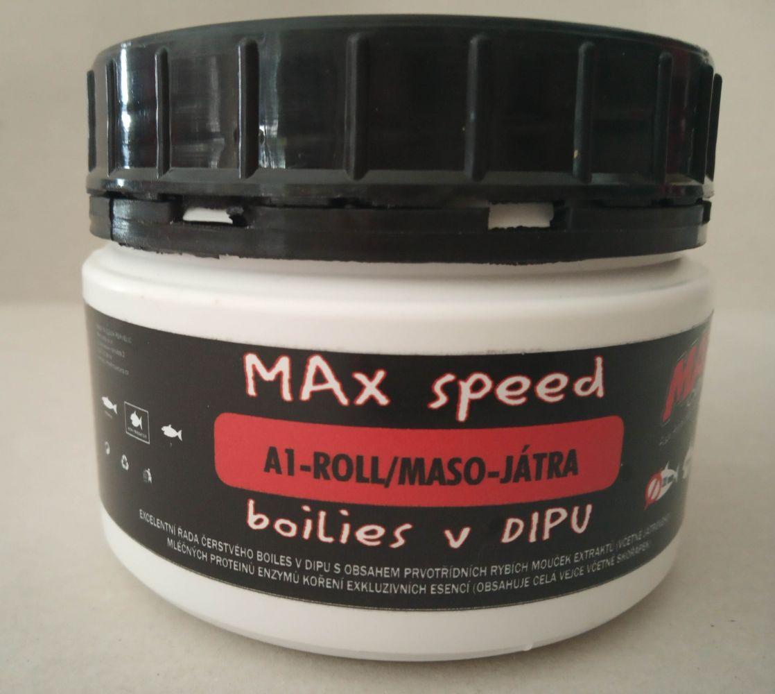 Maxcarp boilies v dipu A1-Roll-Maso,Játra 21 mm 300ml