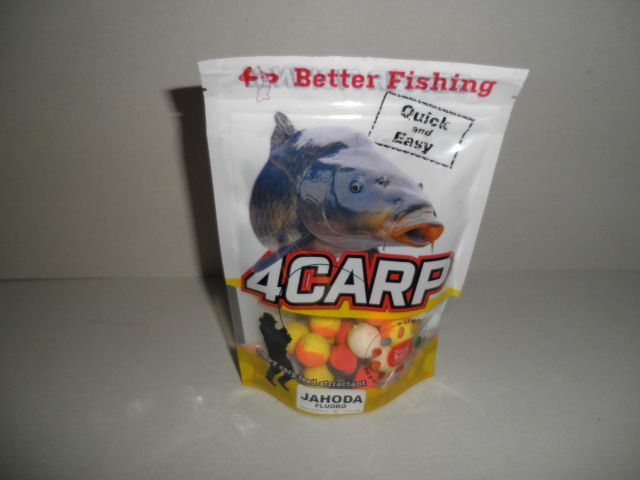 4CARP pop up Duo Fluoro boilies 30g 15mm Jahoda