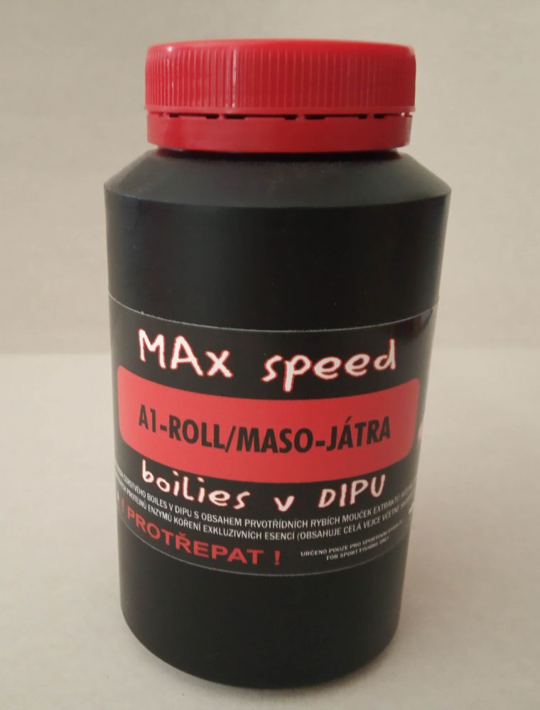 Maxcarp A1-ROLL Maso,Játra Boilies 16mm v dipu boilies 250ml